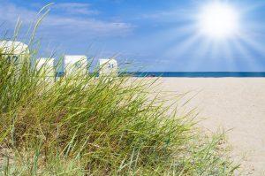Düne am Strand an der Ostsee mit Sonne