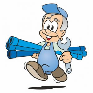 Plumber running with Waterpipes