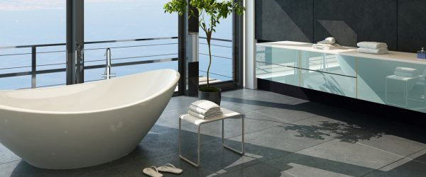 Expensive luxury bathtub against panoramic window